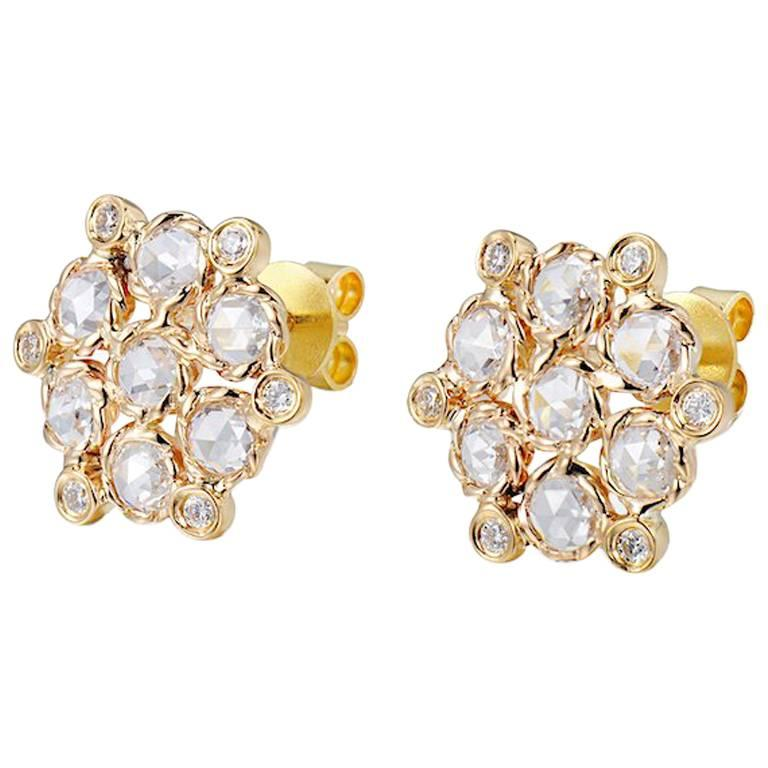 Aphrodite 18 Karat Gold Rose-Cut Diamond Cluster Stud Earrings For Sale