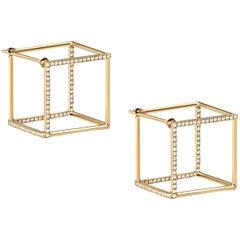 18 Karat Yellow Gold Diamond Square Pair Earrings