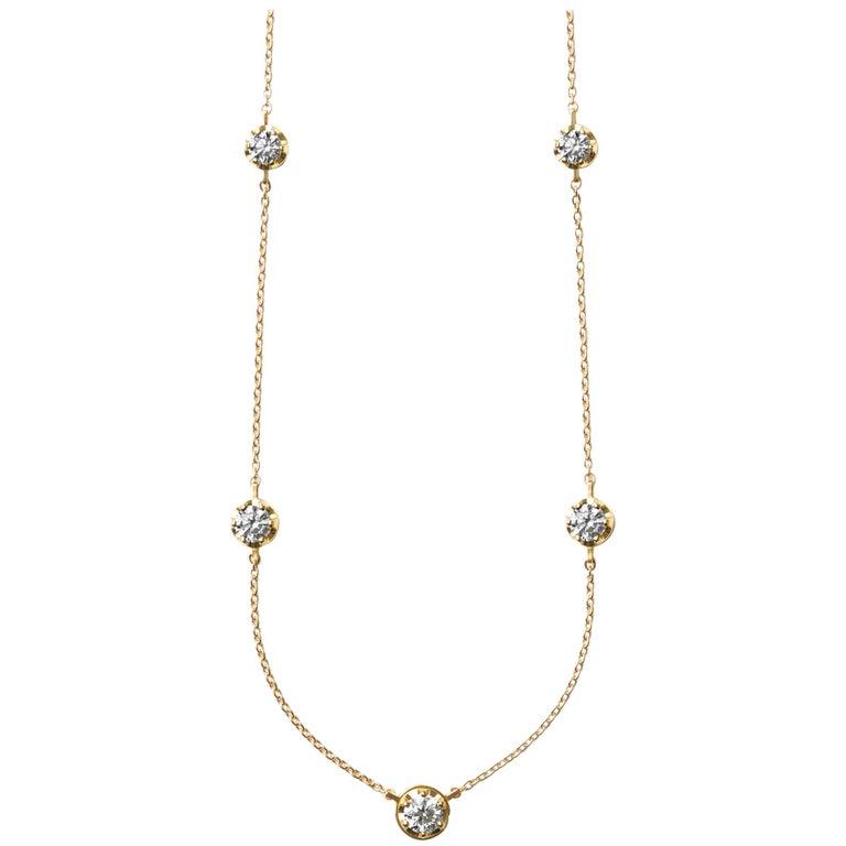 18 Karat Yellow Gold Five-Stone Diamond Necklace