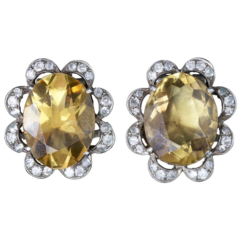 Antique Victorian Citrine Earrings Silver Clip Earrings, circa 1900