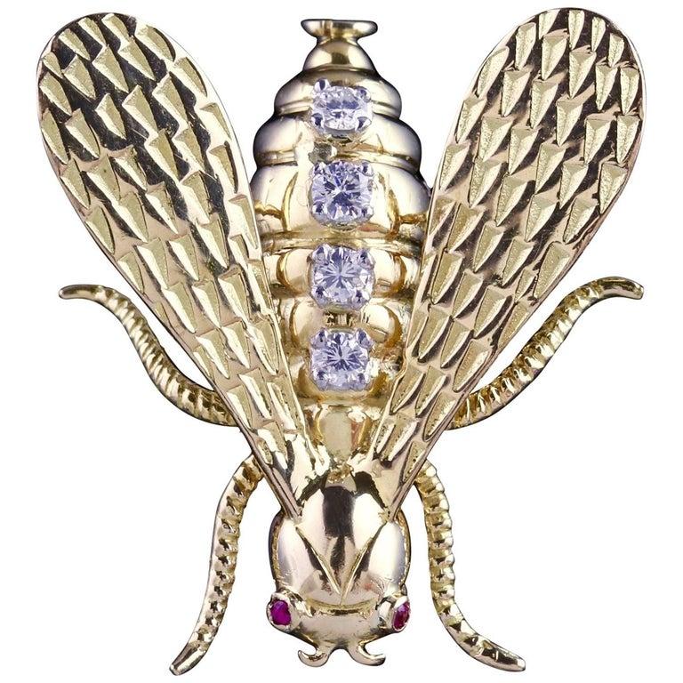 Antique Victorian Insect Brooch 18 Carat Gold Diamond, circa 1900