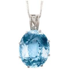 226.34 Carat Blue Topaz 18 Karat White Gold with Diamond Mount Pendant Necklace