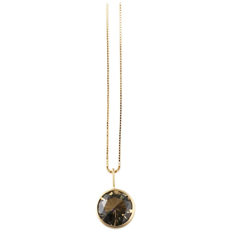 18 Karat Yellow Gold Lemon Quartz Smoky Quartz Two-Stone Necklace
