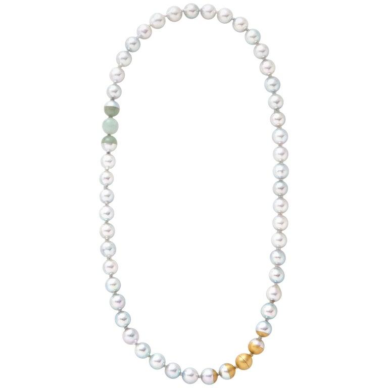 18 Karat Yellow Gold Akoya Pearl Jade Necklace