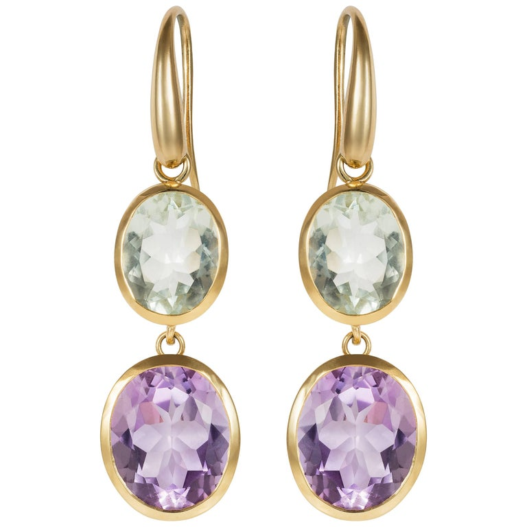 Yellow Gold Purple and Green Amethyst Double Drop Earrings