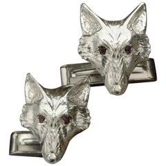 Fox Cufflinks in Sterling Silver with Ruby Eyes