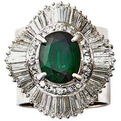 2.93 Green Garnet 2.45 Carat Diamond Platinum Cocktail Ring