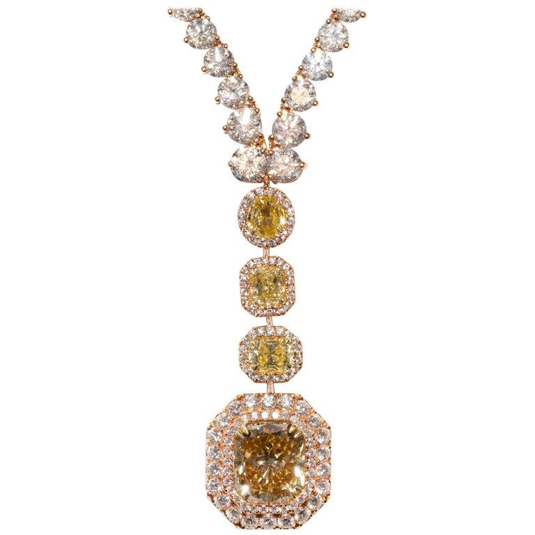 30.41 CaraT Diamond Radiant Cushion Round Gold Necklace Pendant