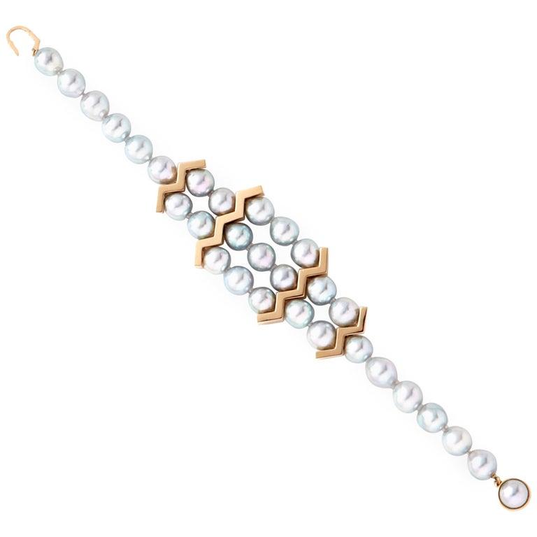 18 Karat Yellow Gold Akoya Pearl Bracelet