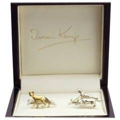 Fox and Hounds Cufflinks in 9 Karat White Gold