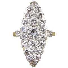 Edwardian Diamond Marquise Ring in 18 Carat Yellow Gold and Platinum