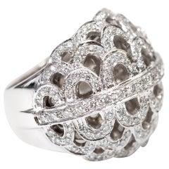 1.37 Carat Round Diamond 18 Karat White Gold Fancy Cocktail Contemporary Ring