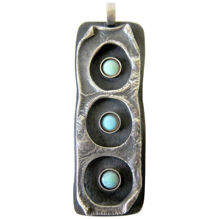 James Parker Sterling Silver Turquoise Enamel Brutal Modernist Pendant For Sale