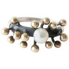 Jay Tuttle Gold Sterling Silver Modernist Spore Ring
