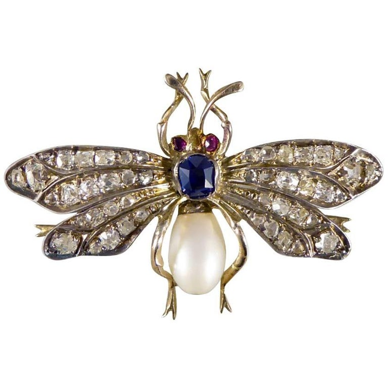 Victorian Multi Gem Set Silver Gold Bug Brooch