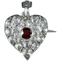 Antique Victorian Garnet Paste Brooch Pendant Silver Heart, circa 1900