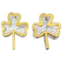Shamrock Cufflink in Sterling Silver and 18 Karat Gold Vermeil
