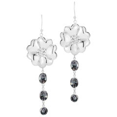 Black Sapphire Blossom Mixed Stone Drop Earrings