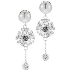.925 Sterling Silver 2 x 20 mm White Sapphire Blossom Stone Bezel Earrings