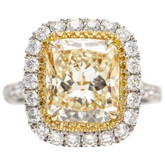 5.37 CT Yellow White Radiant Cut Platinum Double Halo Diamond Engagement Ring