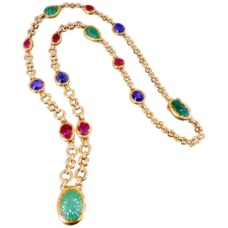 Certified 1970 David Webb Precious Jewel Carved Emerald Gold Chain