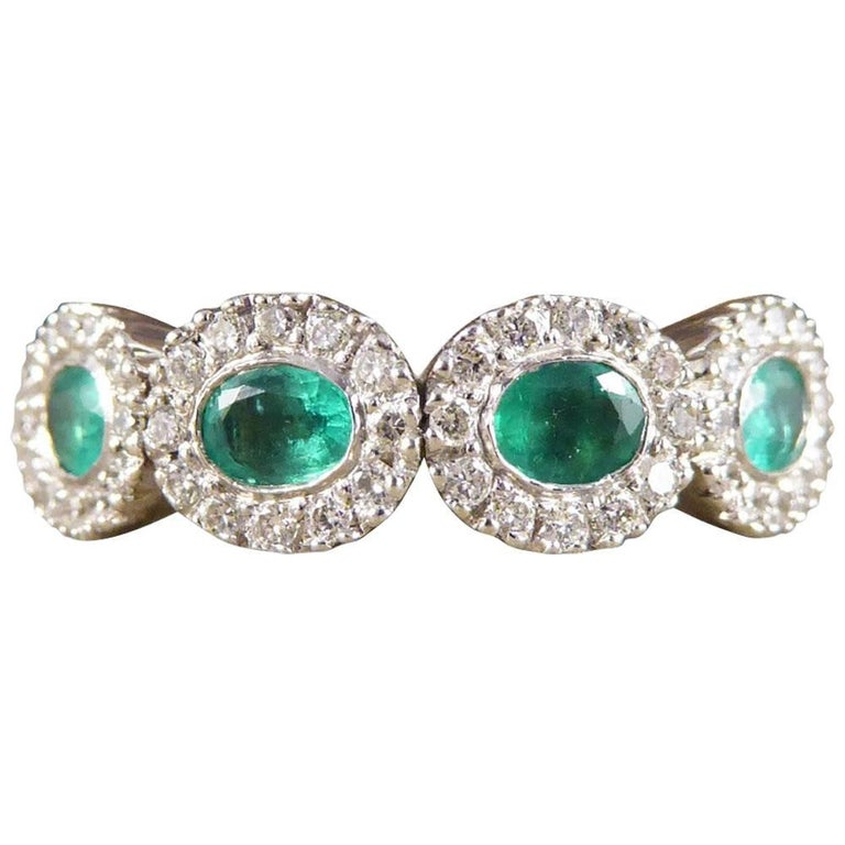 Emerald and Diamond Four-Stone 18 Carat Gold Cluster Ring For Sale