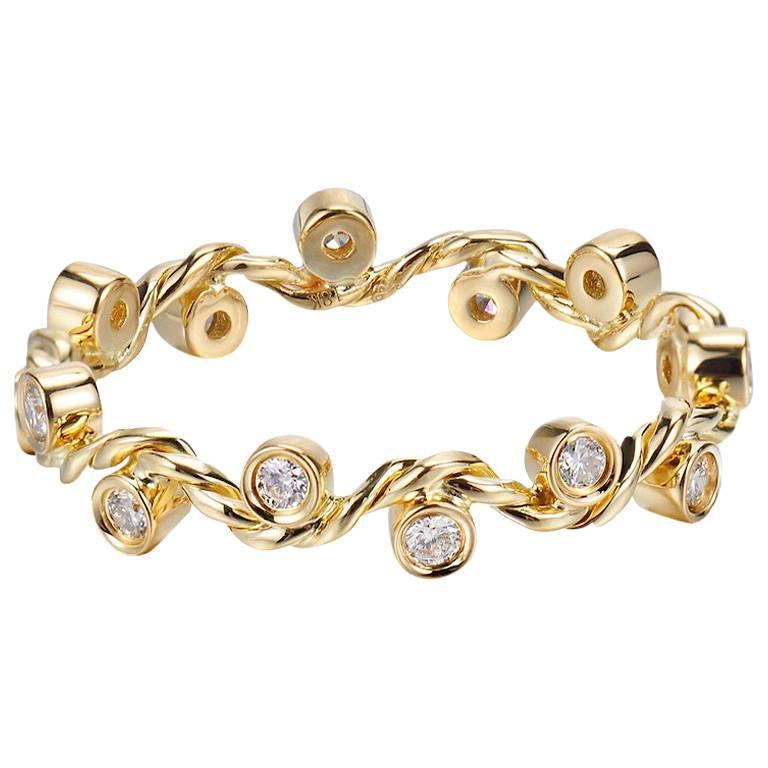 14K White Gold Wavy Twist Eternity 0.229ct Diamond Band Size 7 In Stock 1.97g