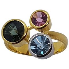 Aquamarine Tourmaline Gold Platinum Ring Atelier Munsteiner