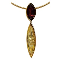 Golden Beryl Spessartite Gold Pendant Necklace Atelier Munsteiner