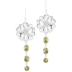 Olive Peridot Blossom Mixed Stone Earrings