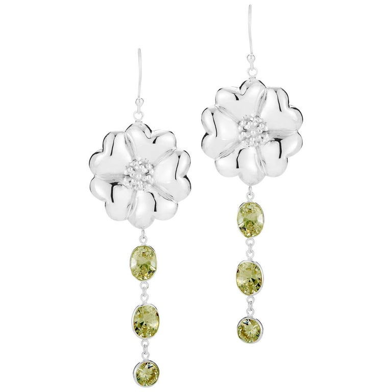 .925 Sterling Silver 2 x 8 mm Olive Peridot Blossom Mixed Stone Earrings