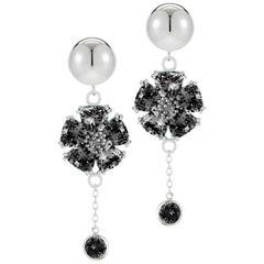 Black Sapphire Blossom Stone Bezel Earrings