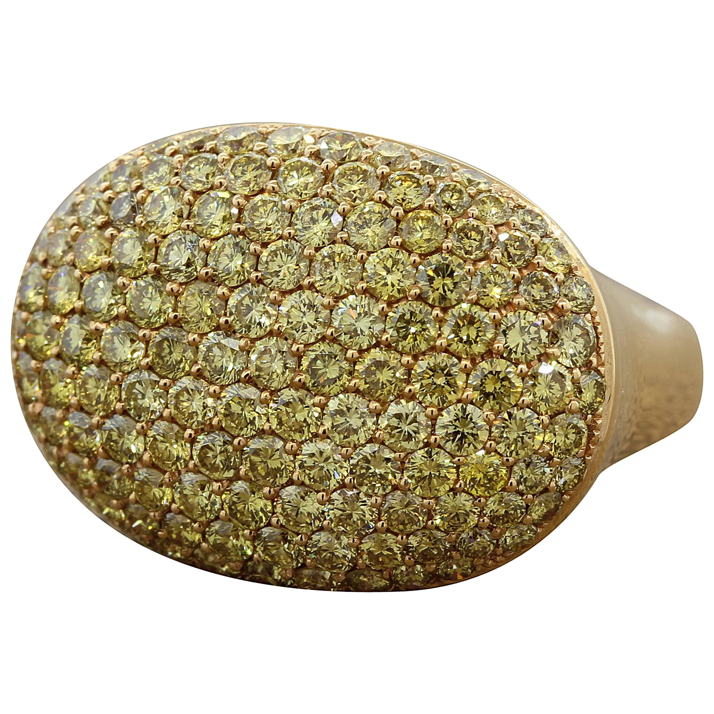 Fancy Yellow Diamond Pave Gold Dome Ring