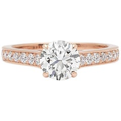 18 Karat Rose Gold Engagement Ring Featuring GIA 1.18 Carat Diamond
