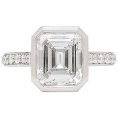 GIA 2.87 Emerald Cut Bezel Set Engagement Ring