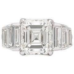 Phenomenal 3.68 Carat GIA Emerald Cut in Custom 18 Karat Diamond Ring