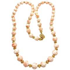 Carved Angel Skin Coral and Gold Bead Necklace