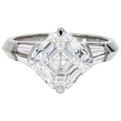 4.01 Carat Royal Asscher Cut Diamond Ring in Platinum, GIA Certified