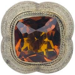Victorian, circa 1870, Handmade Hat Pin, Orange, Faceted, Cushion Cut