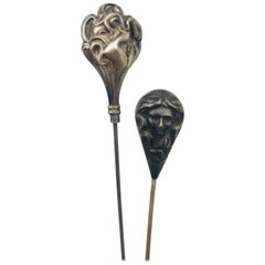 Victorian Sterling Silver Hat Pin Pair, Pear-Shaped, Stylized circa 1890