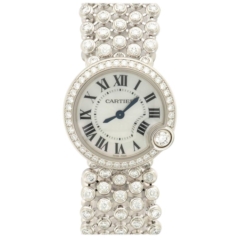 Cartier White Gold Diamond Ballon Blanc Bracelet Wristwatch, circa 2014