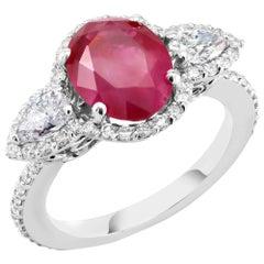GIA Certified Over Three Carat Burma Ruby No Heat Diamond Platinum Ring