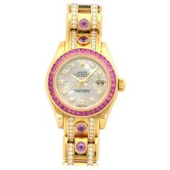 Rolex Yellow Gold Diamond Sapphire Datejust Pearlmaster Automatic Wristwatch