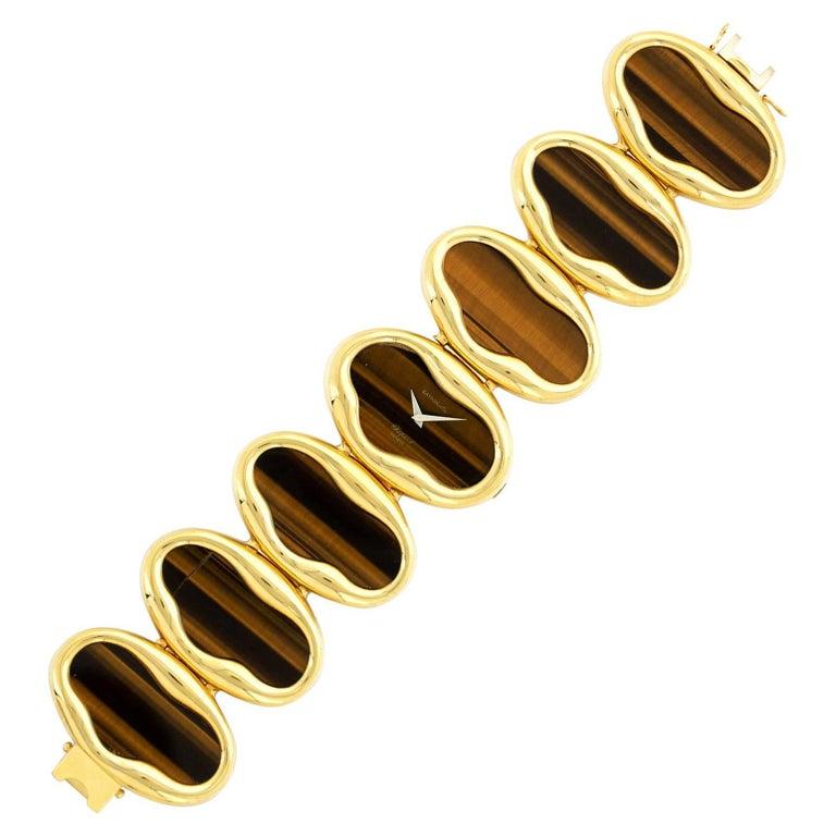 Chopard Ladies Yellow Gold Tiger's Eye Bracelet Wristwatch, Circa 1975