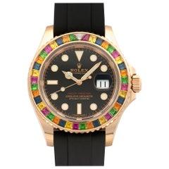 Rolex Rose Gold Yacht-Master Rainbow Automatic Wristwatch