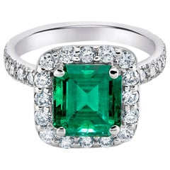 Platinum Colombian Emerald Diamond Cocktail Cluster Ring