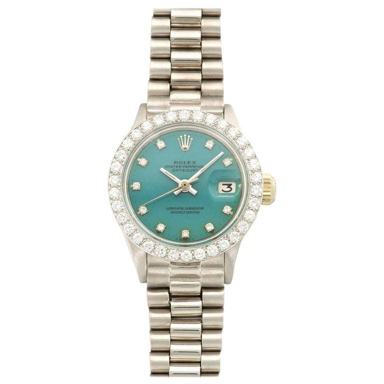 Rolex White Gold Diamond Blue Stella Dial Datejust Automatic Wristwatch Ref 6917