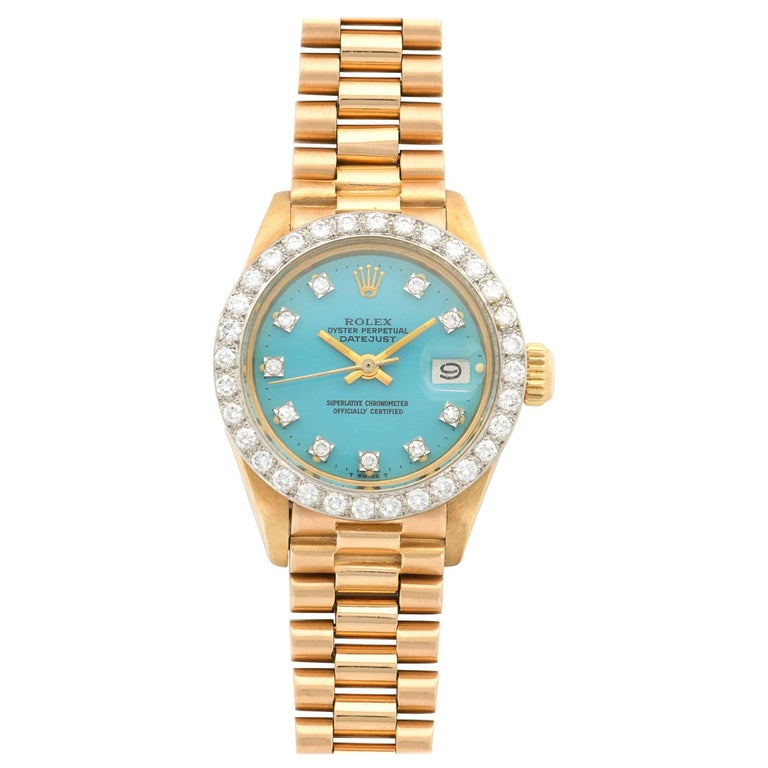 Rolex Yellow Gold Diamond Datejust Blue Stella Dial Wristwatch Ref 6913