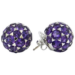 18 Karat White Gold Amethysts Garavelli Boule Earrings