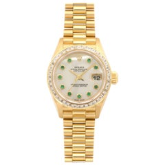Rolex Ladies Yellow Gold Diamond Emerald Datejust Wristwatch